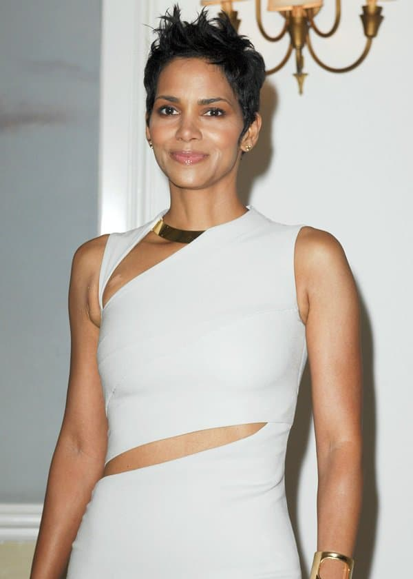 Halle Berry went monochromatic in a grey cutout dress by Gucci