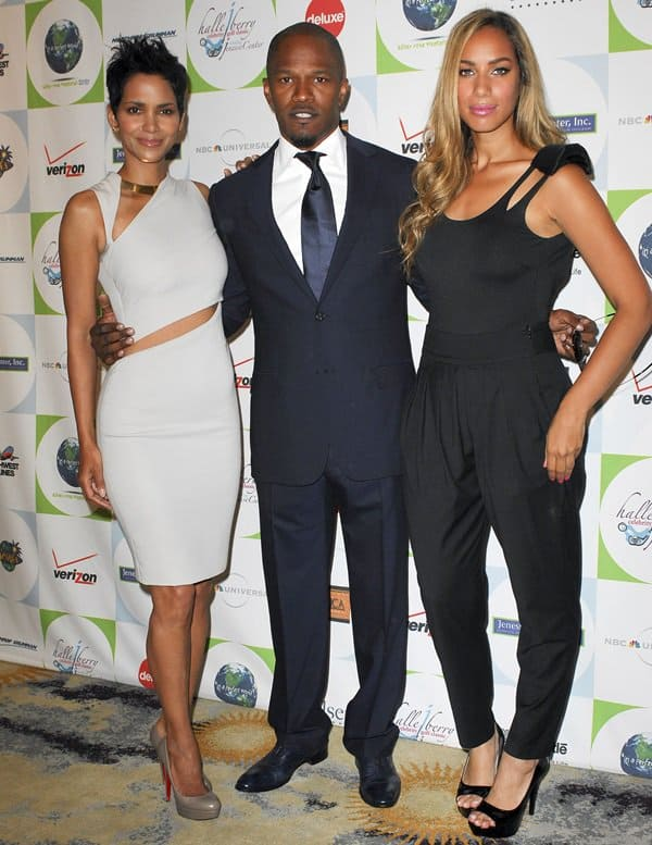 Leona Lewis, Jamie Foxx and Halle Berry attending the 2010 Silver Rose Gala & Auction at the Beverly Hills Hotel in Beverly Hills on April 18, 2010