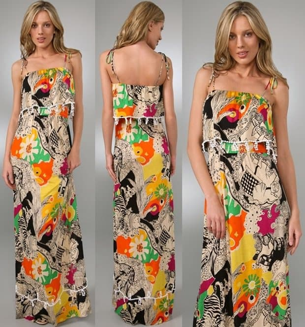 This print jersey maxi dress features crocheted trim at the bodice overlay