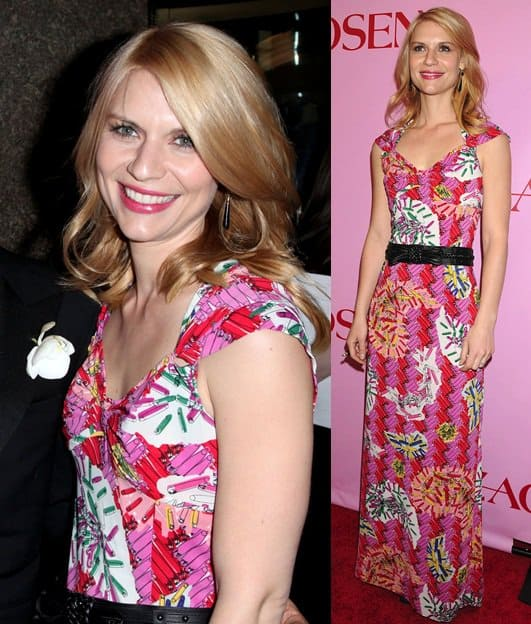 Claire Danes wearing a long and bright printed number from the new label