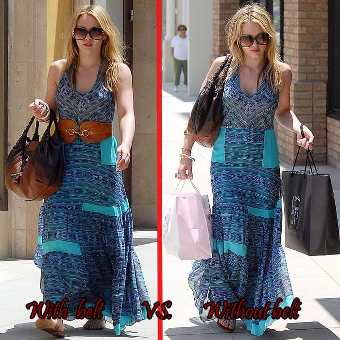Hilary Duff wisely ditching the wide brown belt she initially accessorized a blue maxi dress with while shopping in Glendale in Los Angeles, California, on July 7, 2008
