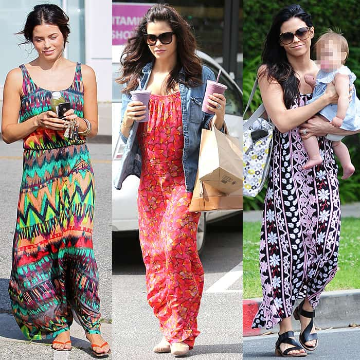 Jenna Dewan-Tatum demonstrating how to pull off different printed maxi dresses while shopping in Beverly Hills, Los Angeles, California, on June 13, 2012, picking up juice at Earth Bar in Los Angeles, California, on March 4, 2013, and carrying her daughter Everly across the street in Los Angeles, California, on April 10, 2014