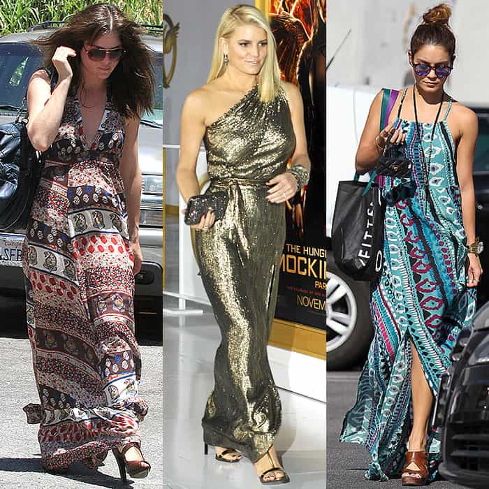 Selma Blair in a v-neck halter maxi dress while running errands in West Hollywood, California, on May 10, 2014; Jessica Simpson wearing a gold one-shoulder gown to The Hunger Games: Mockingjay - Part 1 premiere held at the Nokia Theatre L.A. Live in Los Angeles, California, on November 18, 2014; Vanessa Hudgens wearing a vertical-print boho maxi dress to shop at the Urban Outfitters store in Studio City, California, on September 17, 2014