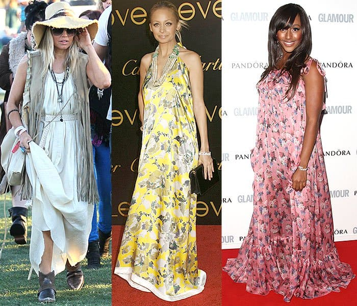 Fergie being overwhelmed by all the layers and fabrics of her maxi dress getup at the 2012 Coachella Valley Music and Arts Festival in Indio, California, on April 14, 2012; Nicole Richie's unflattering balloon-like printed maxi dress at the Cartier Charity Love Bracelet Launch held at a private residence in Los Angeles, California, on June 18, 2008; Alexandra Burke drowning in a floor-sweeping floral maxi dress at The Glamour Women of the Year Awards 2011 in London, England, on June 7, 2011