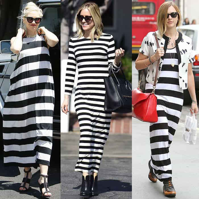 Celebrities wearing petite-unfriendly bold-striped maxi dresses: Gwen Stefani arriving at a kids' party in Hollywood, California, on April 28, 2012, Kristin Cavallari leaving the Fred Segal store in Los Angeles, California, on October 23, 2014, and Fearne Cotton arriving at the BBC Radio 1 studios in London, England, on July 27, 2010