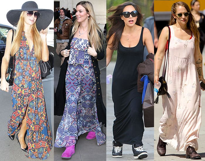Paris Hilton's awkward pairing of pointy-toe pumps with a floral maxi dress at LAX Airport in Los Angeles, California, on September 18, 2014; Joss Stone wearing ugly pink Ugg boots with a maxi dress at the BBC Broadcasting House in London, England, on November 30, 2014; Myleene Klass wearing stumpy sneakers with a black maxi dress in London, England, on May 6, 2014; Jemima Kirke pairing clunky worn-out boots with a floral maxi dress in Astor Place in New York City on June 25, 2014