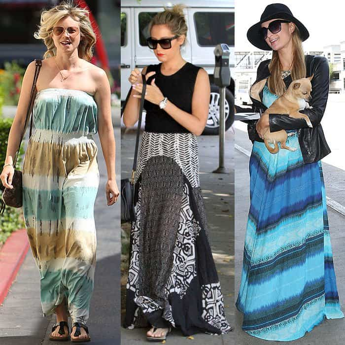 Amy Smart wearing a color-block-dyed strapless maxi that's unflattering for petites while leaving Dry Bar Salon in West Hollywood, Los Angeles, California, on April 25, 2013; Ashley Tisdale wearing a two-piece maxi dress that cuts her height in half while out and about in Los Angeles, California, on June 12, 2014; Paris Hilton arriving at the LAX Airport in a monochromatic color-block maxi dress that wouldn't flatter shorter ladies on May 8, 2014