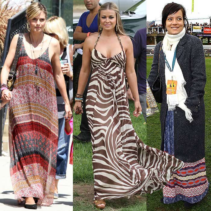 Heidi Klum wearing a horizontally paneled maxi dress that petites should avoid while out and about in Brentwood, California, on April 21, 2012; Carmen Electra busting out of an animal-print halter-neck maxi dress at the Elizabeth Glaser Celebrity Carnival in Santa Monica, California, on June 13, 2010; Lily Allen wearing a border-hemmed maxi dress that draws the eye downwards at the Cheltenham Festival at Cheltenham, England, on March 18, 2011