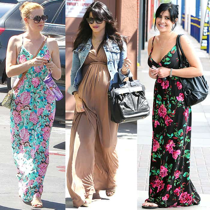 Petite celebrities benefiting from the height-enhancing length of floor-grazing maxi dresses: Amy Adams visiting the Sherman Oaks Macy's store in Los Angeles, California, on September 6, 2014, pregnant Jenna Dewan-Tatum leaving a doctor's office in Santa Monica, California, on March 13, 2013, and Kym Marsh shopping in Manchester, England, on May 4, 2010