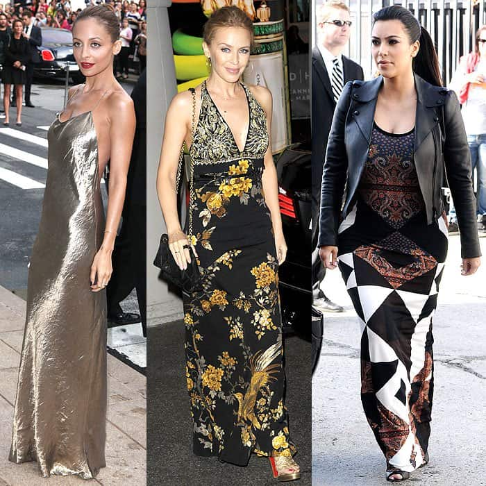 Nicole Richie rocking a slinky silk-satin maxi dress at the CFDA Awards in New York City on June 4, 2013; Kylie Minogue wearing a slim cut empire-waist halter maxi dress while arriving at the Grand Hyatt Cannes Hotel Martinez in Cannes, France, on May 20, 2014; Kim Kardashian wearing a body-fitting geo-print maxi dress to film Keeping Up with the Kardashians in Los Angeles, California, on February 27, 2013
