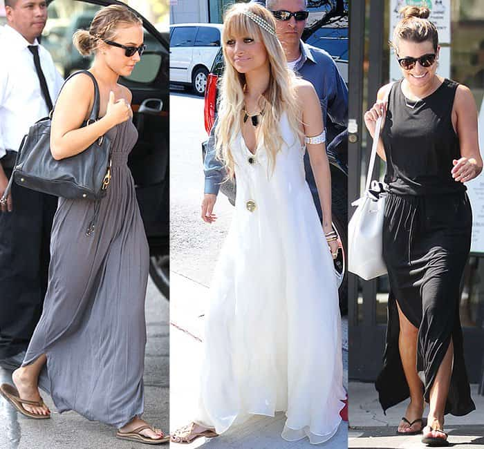 Hayden Panettiere wearing a flowy gray strapless maxi dress to go out to lunch in Los Angeles, California, on November 12, 2008; Pregnant Nicole Richie in an ethereal look in a white maxi dress while attending the launch of House of Harlow Jewelry at Kitson on Melrose Avenue in Los Angeles, California, on March 7, 2009; Lea Michele getting a health shake in a comfy two-slit black maxi dress in West Hollywood, Los Angeles, California, on October 13, 2014