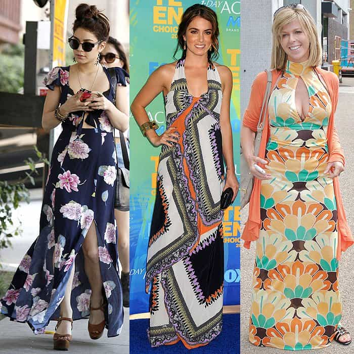 Petite celebrities being overwhelmed by the too large and busy prints on their maxi dresses: Vanessa Hudgens leaving Nine Zero One hair salon in West Hollywood, Los Angeles, California, on March 27, 2013, Nikki Reed at the 2011 Teen Choice Awards in Universal City, California, on August 7, 2011, and Kate Garraway outside the ITV studios in London, England, on July 20, 2010