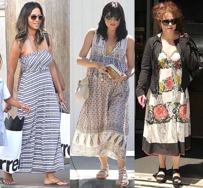 Halle Berry in a height-cutting ankle-length and horizontally striped strapless maxi dress while shopping at The Grove in Hollywood, California, on September 29, 2014; Pregnant Selma Blair's ankle-length printed maxi dress and strappy sandals shorten her 5'3