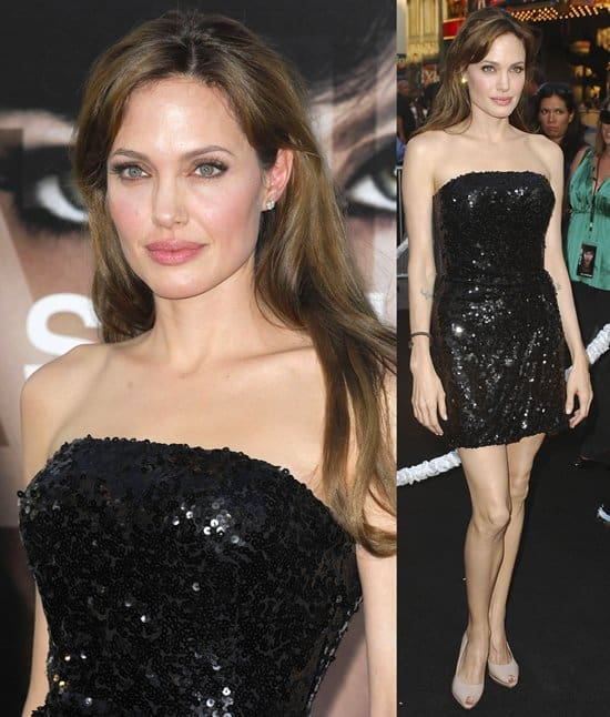 Angelina Jolie arrives at the premiere of Sony Pictures' 'Salt'
