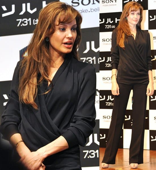 """Angelina Jolie attends a press conference to promote her new movie """"Salt"""""""