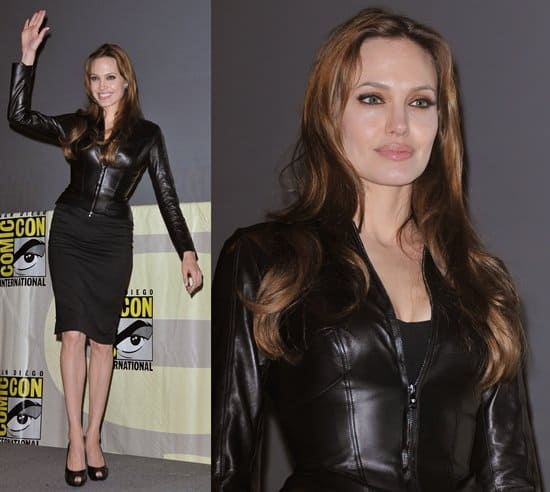 """Actress Angelina Jolie poses onstage at the """"Salt"""" panel during Comic-Con 2010"""