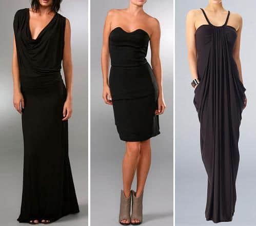 Three black evening dresses
