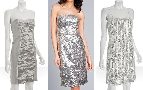 Three evening silver dresses