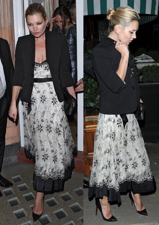 Kate Moss in Floral Strapless Dress and Black Dinner Jacket