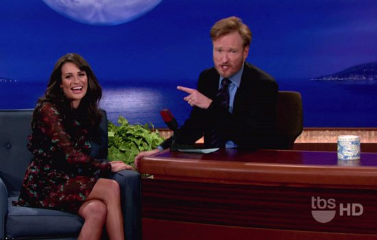 Lea Michele was the first ever guest on the first ever episode of Conan, which is Conan O' Brien's brand new show!