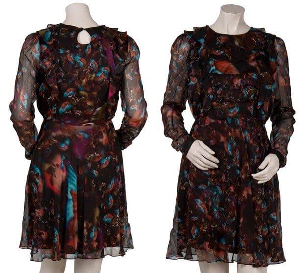 Erdem Multicolor Marlene Ruffle Front Dress