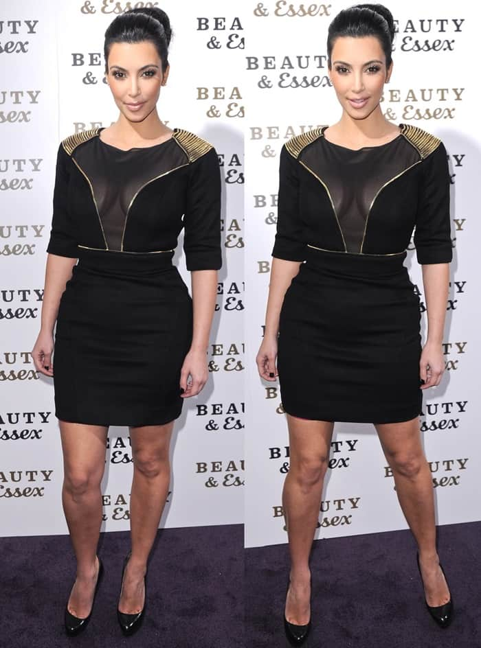 Kim Kardashian paired the dress with a pair of matching black heels