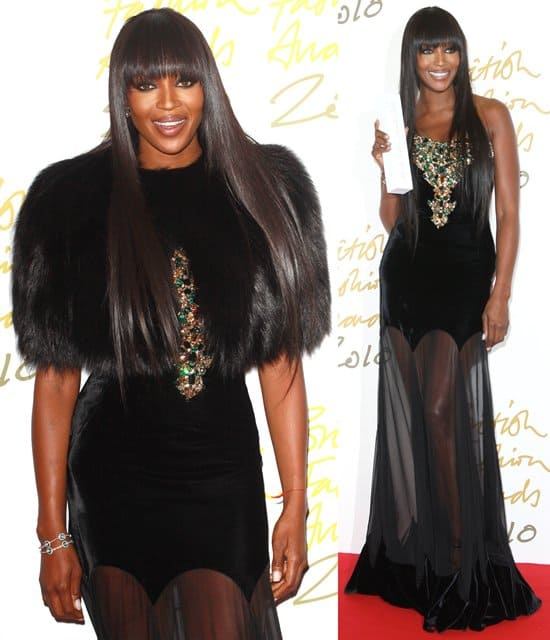Model Naomi Campbell attends the British Fashion Awards 2010