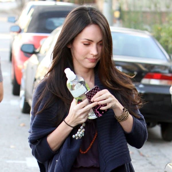 Megan Fox keeps her head down as she leaves a salon on Robertson Boulevard