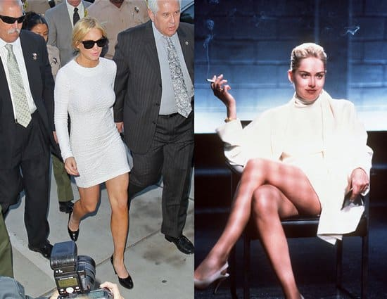 Lindsay Lohan before she faced a felony grand theft charge in court, looking very similar to Sharon Stone in the 1992 erotic thriller Basic Instinct