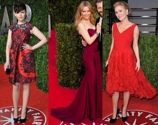 Ginnifer Goodwin in an Erdem Fall 2009 navy lace overlay red dress; Leslie Mann in a Versace wine red strapless gown; Anna Paquin in a Monique Lhuillier shredded skirt red cocktail dress