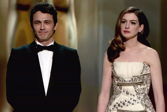 Presenters James Franco and Anne Hathaway speak onstage during the 83rd Annual Academy Awards