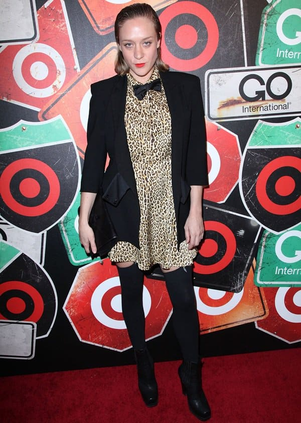 Chloe Sevigny rocks black over the knee stockings at the GO International Designer Collective Launch