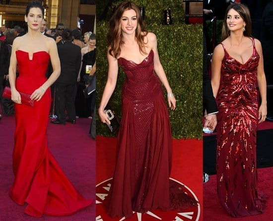Sandra Bullock in a Vera Wang strapless red gown; Anne Hathaway in an Atelier Versace Spring 2011 wine red gown; Penelope Cruz in L'Wren Scott Spring 2011 fiery red gown