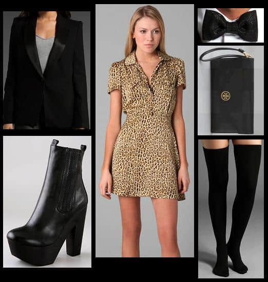 Outfit with leopard Chloe Sevigny for Opening Ceremony Peter Pan collar dress