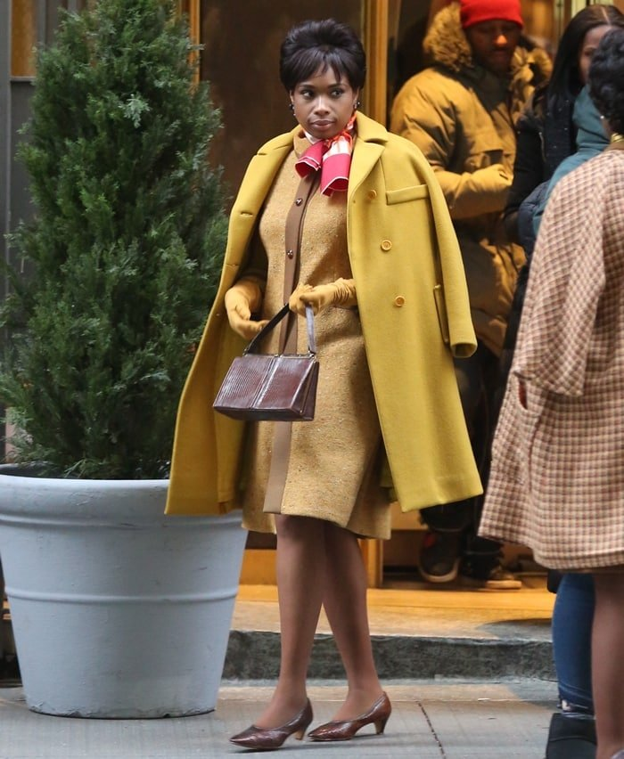 Jennifer Hudson filming the final scene for her movie Respect, playing Aretha Franklin, in lower Manhattan