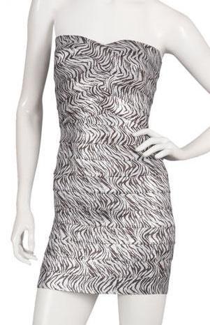 Pleasure Doing Business Sweetheart Dress in Zebra