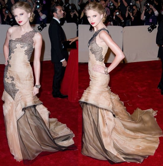 """Taylor Swift in J. Mendel Couture attends the """"Alexander McQueen: Savage Beauty"""" Costume Institute Gala"""