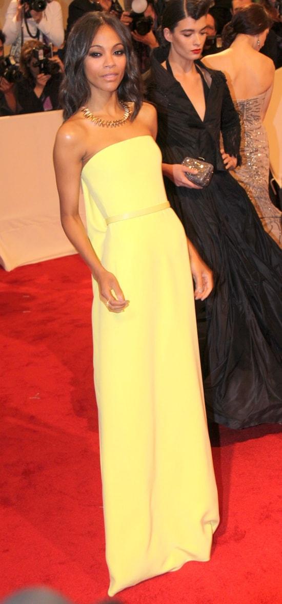 "Zoe Saldana in Calvin Klein attends the ""Alexander McQueen: Savage Beauty"" Costume Institute Gala"