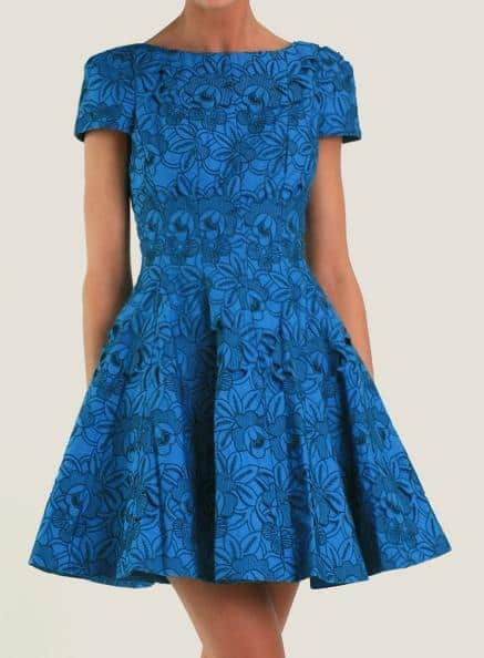 Tibi Floral Cutout Embroidery Cap Sleeve Dress