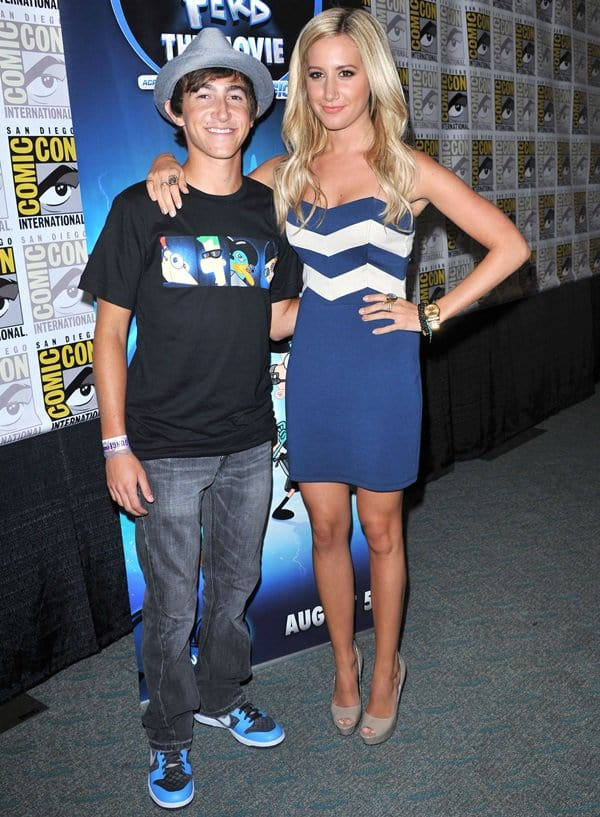 Blonde-again actress Ashley Tisdale and Vincent Martella promoted the American animated musical comedy television series Phineas and Ferb
