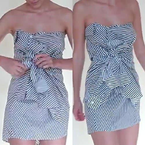 Irina Zvidrina shows how to wear a diagonally striped shirt as a dress