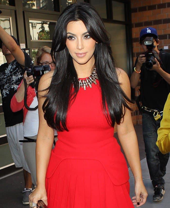 Kim Kardashian in Sexy Red Alexander McQueen Pleated Skirt ...
