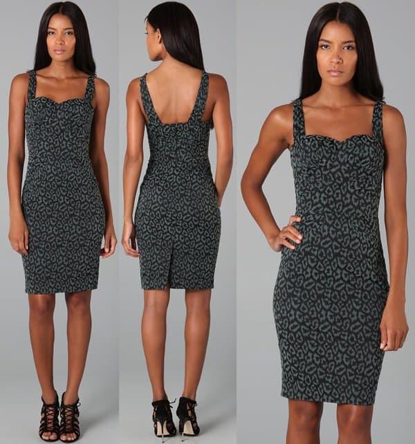 Zac Posen Leopard Print Bustier Dress