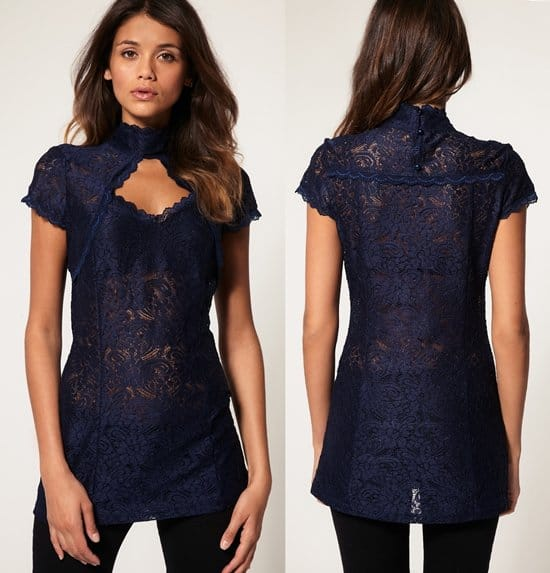 ASOS high neck lace top