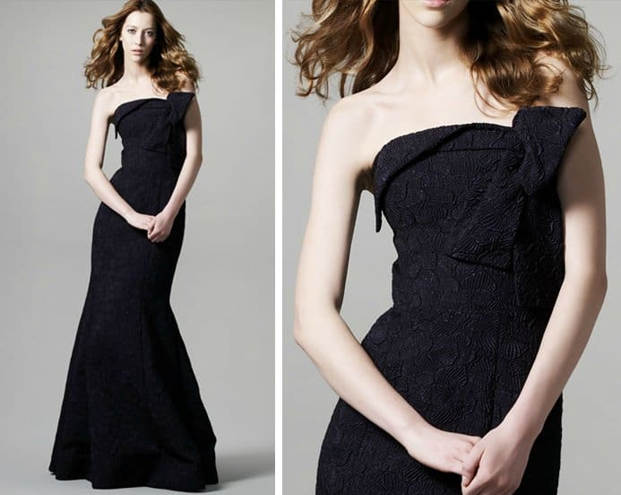 David Meister Strapless Jacquard Dress