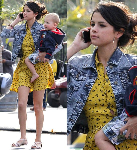 Selena Gomez plays with boyfriend Justin Bieber's younger half-siblings at Paradise Cove beach in Malibu, California on February 17, 2012