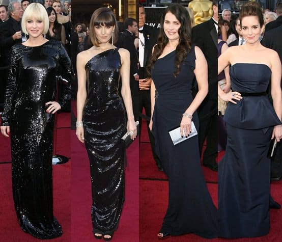 Anna Faris, Rose Byrne, Julia Ormond, and Tina Fey in Black at the 2012 Oscar Awards