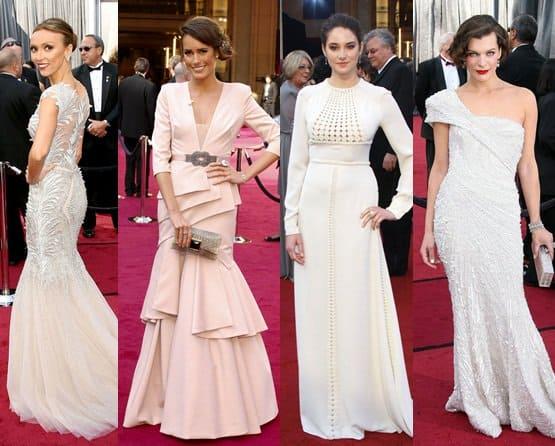 Giuliana Rancic, Louise Roe, Shailene Woodley, and Milla Jovovich in White at the 2012 Oscar Awards