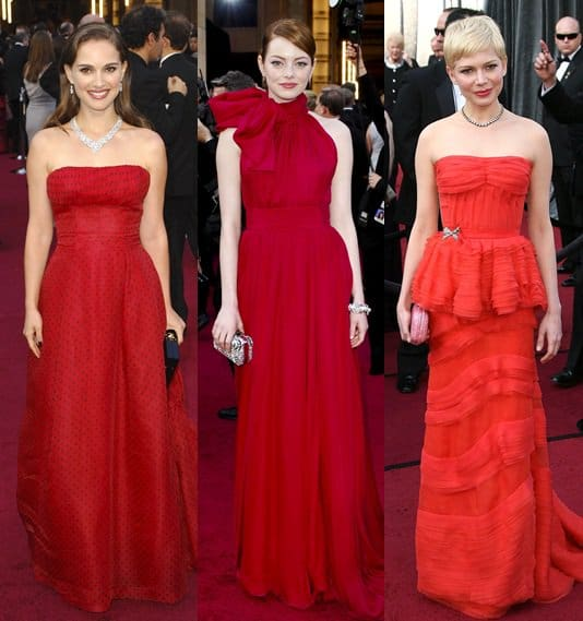 Natalie Portman, Emma Stone, and Michelle Williams in Red at the 2012 Oscar Awards