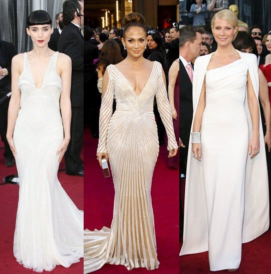 Rooney Mara, Jennifer Lopez, and Gwyneth Paltrow in White at the 2012 Oscar Awards